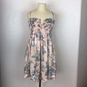 *BNWT* Zara Woman Peach  Floral & Bird Mini Dress